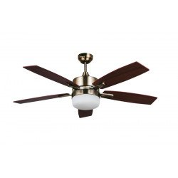 "LARGE SIZE ceiling fan antique brass and walnut 140 cm / 55.1"" with remote control and lighting"