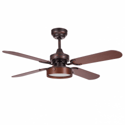 Boreal - Ceiling fan in modern design, brown, 107 cm, with LED plate and remote control