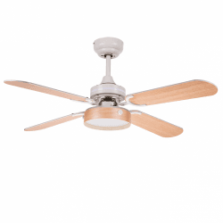 Boreal - Ceiling fan modern white and beech, 107 cm, with LED plate and remote control