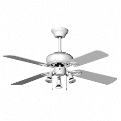 Ceiling fan modern white 107 cm ,3 spotlight GU10 remote control