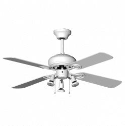 Ceiling fan modern white 107 cm ,3 spotlight GU10 remote control