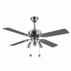 Ceiling fan modern Nickel silver 107 cm ,3 spotlight GU10 remote control