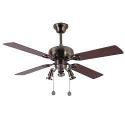 Ceiling fan modern copper brown 107 cm ,3 spot GU10 remote control