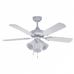Ceiling fan classic white 107 cm ,3 bulbs E27 remote control