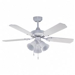 Gabin white - ceiling fan classic white 107 cm, 3 bulbs E27, with pull chain control