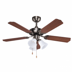 Ceiling fan classic brown 107 cm ,3 bulbs E27 remote control