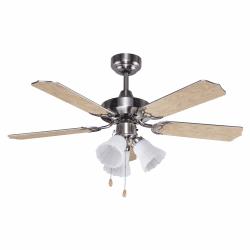 Ceiling fan classic light brown wood 107 cm ,3 bulbs E27 remote control