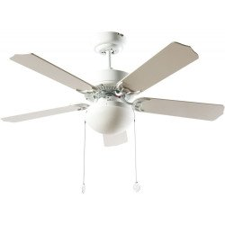 Ceiling fan classic white 107 cm ,2 x E27 bulbs, pull cord ,remote control