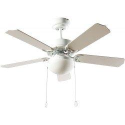 Ceiling fan classic white 107 cm ,2 x E27 bulbs, pull cord ,remote control