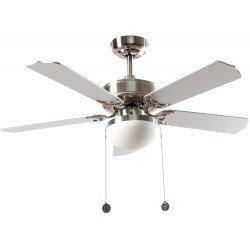 Ceiling fan classic silver 107 cm ,2 bulbs E27, pull cord ,remote control