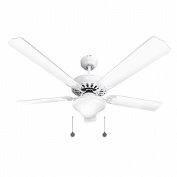 Ceiling fan classic white 132cm ,2 bulbs E27, pull cord ,remote control