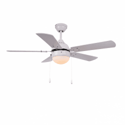 Ceiling fan modern white 106 cm ,1 light bulb E27, pull-out ,remote control
