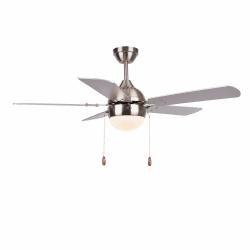 Ceiling fan modern silver-106 cm , 1 light bulb E27, pull cord, remote control