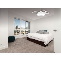 Mastersound by Lba Home Ceiling fan white 107 cm retractable transparent blades light point and loudspeaker