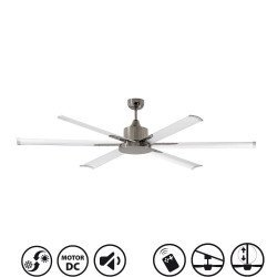 North Star white and chrome is a large volume ceiling fan for industry but also for home.