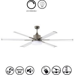 Modern extra large ceiling fan DC 210 cm NORTH STAR , dimmable Chrome and white