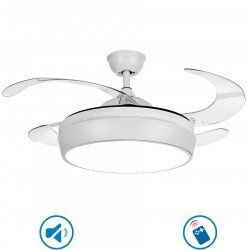 Ceiling fan white 107 cm transparent retractable blades with remote control, extra powerful light point