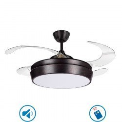Ceiling fan Tulyp antic brown 107 cm retractable transparent blades with remote control, extra powerful light point