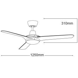 Ceiling fan 130 Cm Rider, white blades, simple and chic design