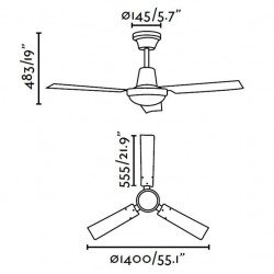 ceiling fan, industrial, white, 140 cm. INDUS FARO 33001