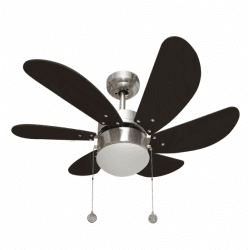 Ceiling fan 25.5in, with lamp,nickel wengé blades, perfect for small rooms
