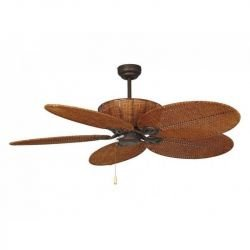 Patio,  ceiling fan tropical, colonial, 132 Cm body antiqued brown steel and blades brown.