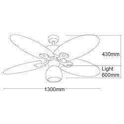 "Palma, ceiling fan 130 cm"", Ceiling fan 130 cm , palm leaf shaped blades"