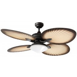 Ceiling fan 130 Cm Bali with light, traditional fan-shaped blades made of palm leaves.