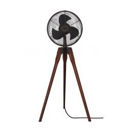 Fanimation Arden, a designer tripod fan, in walnut, oiled bronze