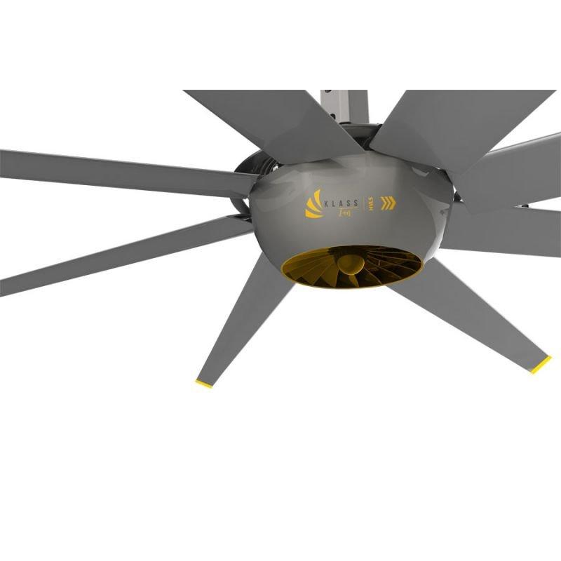 DC RAPTOR HVLS RTDC8. Ventilador industrial de diseño ultraeficiente. Bajo consumo, alto volumen de aire. 140 m2.