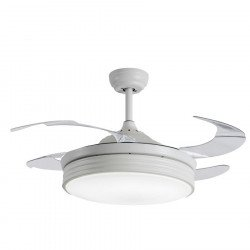 Ceiling fan white 107 cm transparent retractable blades internet connection, extra powerful light point