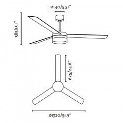 Design ceiling fan, 132 cm, with integrated LED light, remote control FARO ICE Led 33459