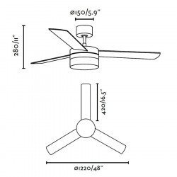 Nickel Ceiling Fan 122 cm lamp with two color IR remote control blades FARO 33608 Panay
