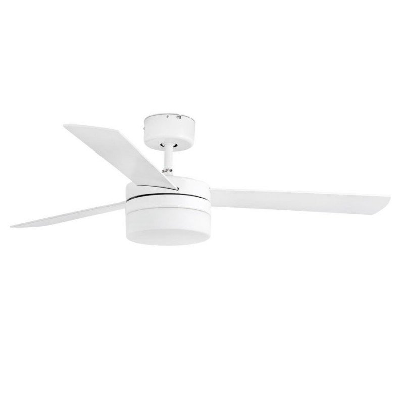White ceiling fan with lamp 122 cm two colors of blades white / maple IR remote FARO 33607 Panay