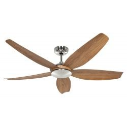 CasaFan ECO VOLARE BN-EN design ceiling fan 116 Cm blades oak brushed chrome motor