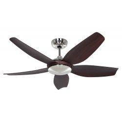 CasaFan ECO VOLARE BN-NB design ceiling fan 116 Cm blades walnut brushed chrome motor