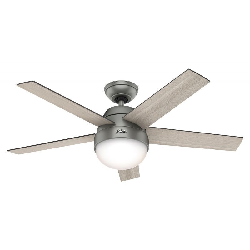 Ceiling fan with light Hunter STILE ML 117 cm walnut and oak light grey motor