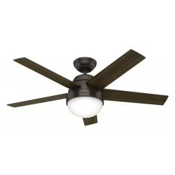 Ceiling fan with light Hunter STILE PB 117 cm dark walnut and light walnut, bronze motor