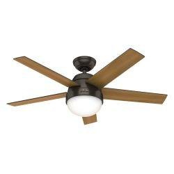 Ceiling fan with light Hunter STILE PB 117 cm dark walnut and light walnut, bronze motor