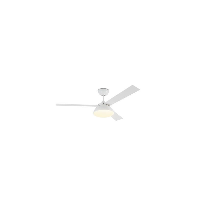 Rodas LED from Faro a modern DC ceiling fan with reversible blades in white and light wood, white motor