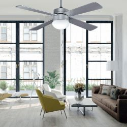 Ceiling fan 107 cm with remote control and integrated lamp - LIBEtronic SILVER - Silver blades.