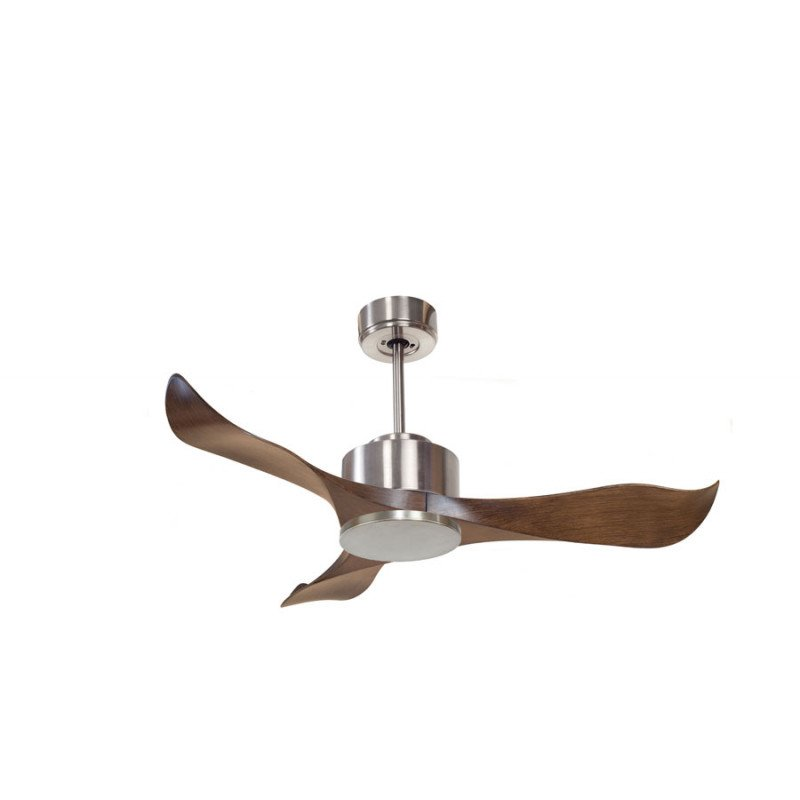 KlassFan Modulo - DC ceiling fan without light Chrom and Wood ideal for 25 to 40 m² ultra efficient KL_DC3_P2Wo