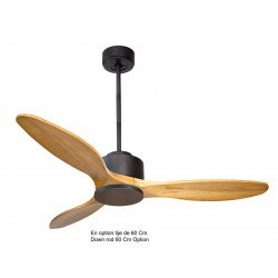 KlassFan Modulo - DC ceiling fan without light Basalt grey and Light Wood ideal from 40 m² ultra efficient KL_DC1_P5SW 132 m