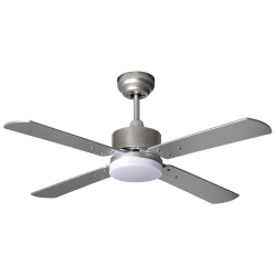 Sevilla - DC ceiling fan in silver, LED lighting, remote control, 107 cm