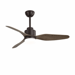 Trispin Brown - AC ceiling fan in brown, with LED lighting and remote control, 120 cm