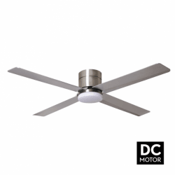 Tiny LT Silver - DC ceiling fan with light and remote control, 132 cm
