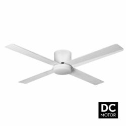 Tiny LT White - DC ceiling fan with light and remote control, 132 cm