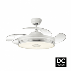 Soundmix White - a modern chandelier with extendable wings and bluetooth speakers