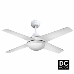 Elysa white - DC ceiling fan in white, with lighting and remote control, 112 cm