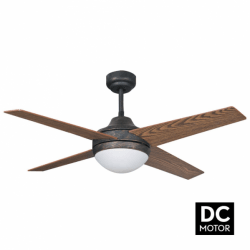 Elysa Rustic - DC ceiling fan with two-faced blades, with lighting and remote control, 112 cm